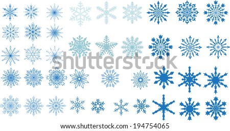 A very large set of various carved lace or simple snowflakes