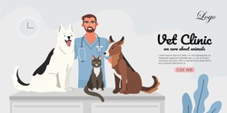A veterinary male doctor with a cat and two dogs in a veterinary office. Pets visitining a vet. Creative banner, flyer, landing page or a blog post for a vet clinic, veterinary office or hospital.