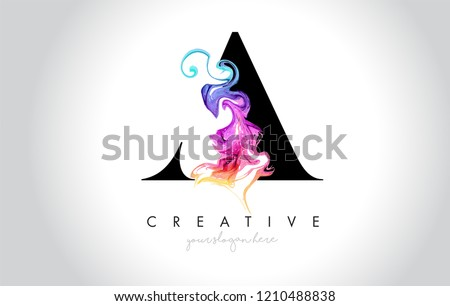 A Vibrant Creative Letter Logo Design with Colorful Smoke Ink Flowing Vector Illustration.