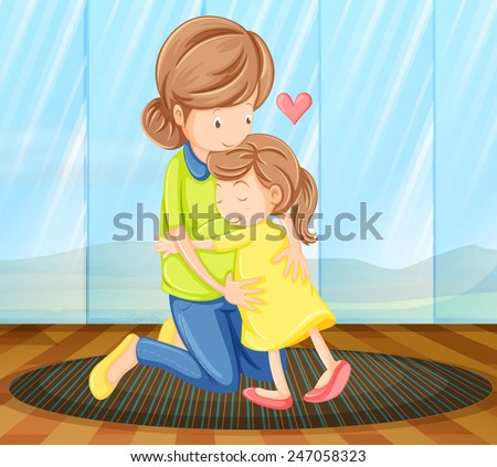 a view of a child hugging her