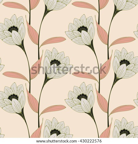 a vintage english style floral wallpaper seamless tiles with crocus-like flowers in white, black, and pink shades