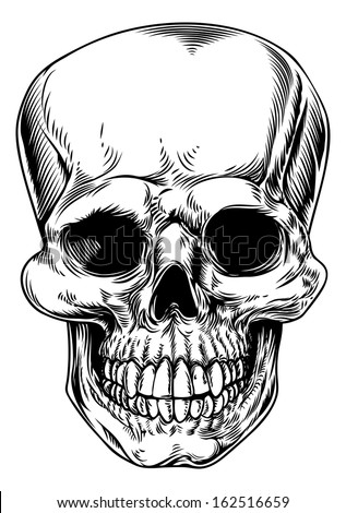 A vintage human skull or grim reaper deaths head illustration