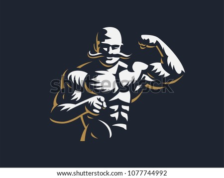 a vintage muscular strong man...