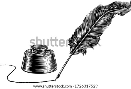 A vintage quill feather ink writing pen and inkwell in a retro woodcut or woodblock line art drawing style Stock photo ©