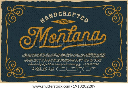 A vintage Script Font. This font looks better for large headlines and short words. Perfect for many creative products such as emblems, headlines, packaging, alcohol labels, and many other uses.