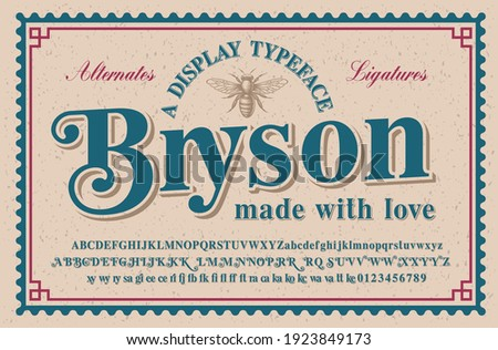 A vintage serif typeface with a big set of alternates and ligatures, this font looks better for headlines and can be used for alcohol labels, retro emblems as well as for many other uses. Stock foto ©