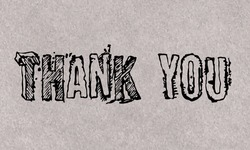 A vintage 'thank you' text on a textured background