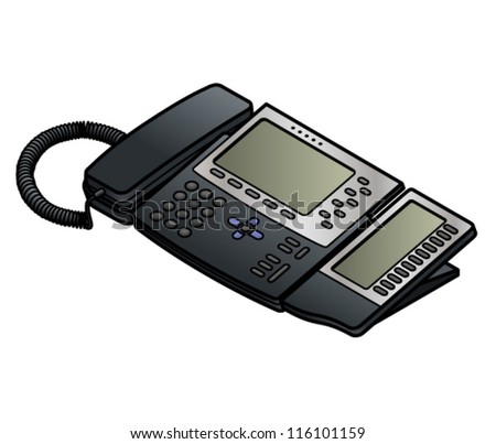 A voice-over-IP desktop phone with two LCD screens.