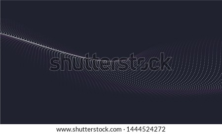 A wave of particles. Futuristic point wave. Vector illustration. Abstract blue background with a dynamic wave. Wave 3d