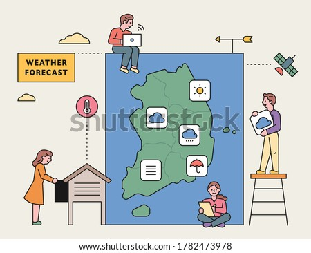 A weather caster reporting with South Korean weather observers. flat design style minimal vector illustration.