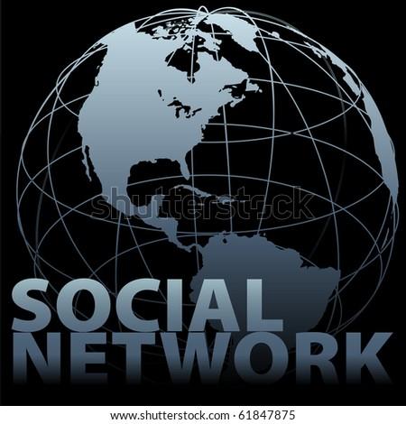 A Western-hemisphere global medial SOCIAL NETWORK Earth Globe on black
