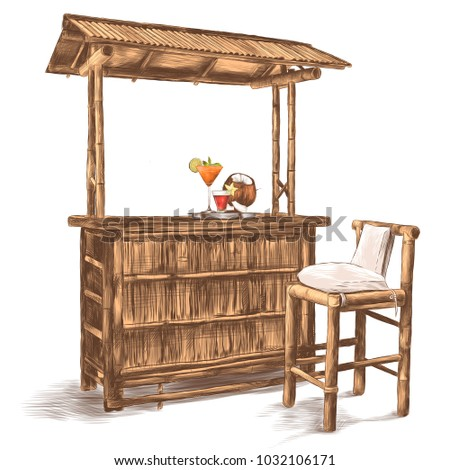 a wet bar with a canopy made of bamboo with bar stools and cocktails, sketch vector graphics color picture