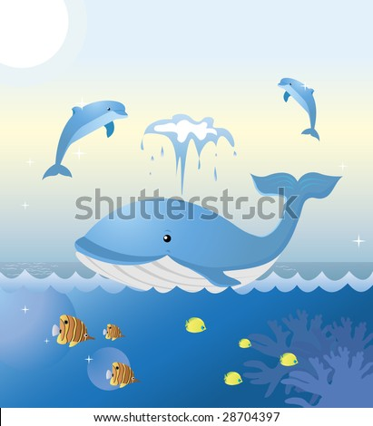 A whale and two dolphins are playing at sea. Colorful tropical fishes are swimming underneath.