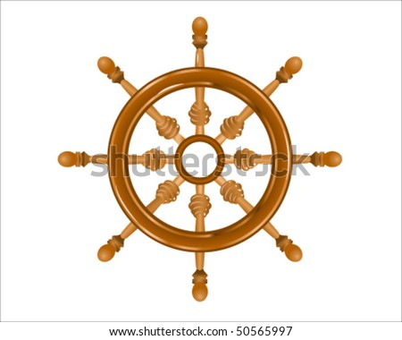 a wheel that a driver rotates in order to steer a ship