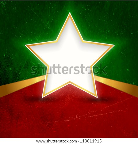 A white gold rimmed star with space for your text on dark red green grunge background. Great background design for Christmas themed projects.