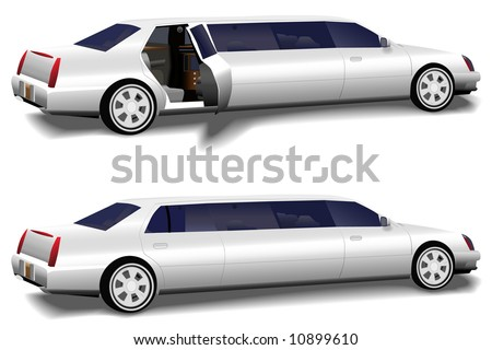 A white limousine set of two versions: rear limo closed and limo door open invitingly to the interior, for prom and business travel, wedding celebration transportation.