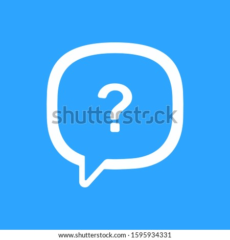 A white message with a question mark in it isolated on a blue background. The message of the popular social network. Blank Facebook messages. Vector illustration