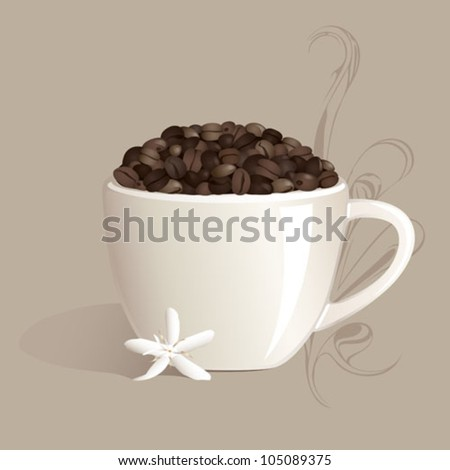 A white mug filled with coffee beans, with a coffee flower and latte swirl accent.
