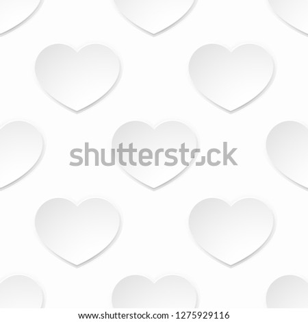 A white paper heart seamlessly tilable pattern valentines day background