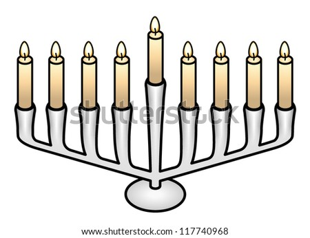 A white/steel/silver hanukkah menorah with nine candle holders.
