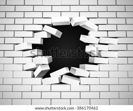 a white wall being smashed or