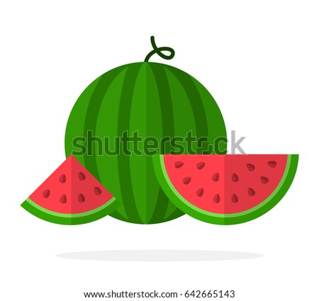 A whole watermelon and slices of watermelon with seeds vector flat material design isolated on white