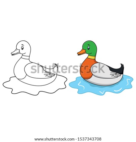 A wild duck swims on the water.  Cartoon illustration of a green headed duck in natural environment. Cartoon duck swimming on the pond. Vector Duck.