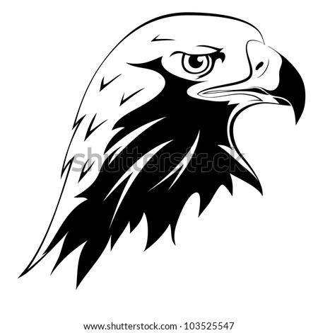 A wild predator. Tattoos. Vector black silhouette of an eagle's head