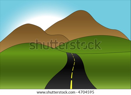a winding road toward hills and mountains