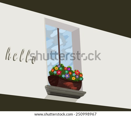 a window flower box  oil