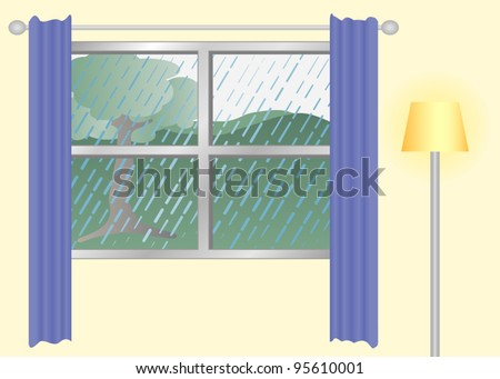 a window view on a rainy day