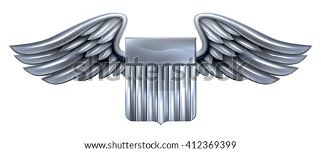 A winged silver metallic shield design with United States flag stripes