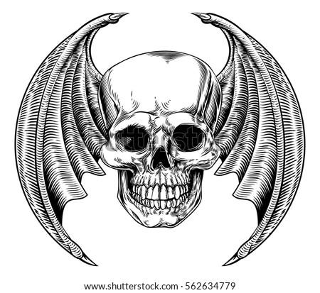 a winged skull bat or dragon