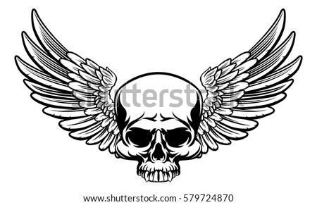 a winged skull drawing in a