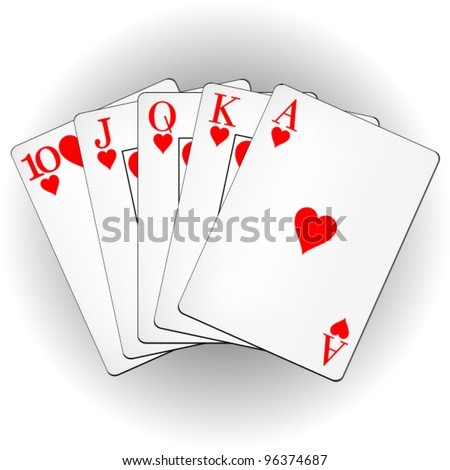A winning poker hand of royal flush playing cards suits on white. Vector illustration.