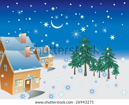 A winter night with rising moon & star in a small village falling snowflake