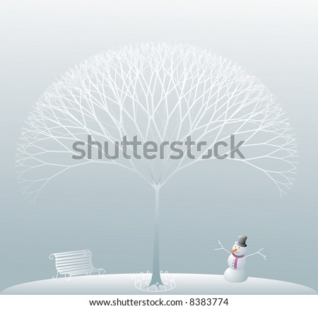 a winter scene in a park with a naked frozen tree