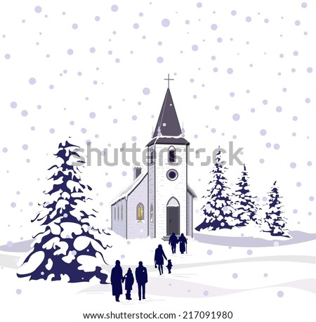 A Winter Scene Of Small Country Church And Snow Covered Evergreen Trees With