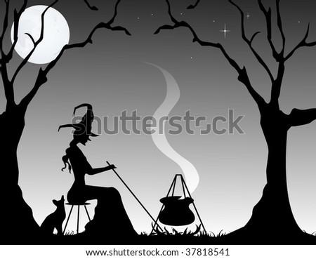 A witch stirring her brew