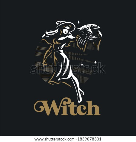 a witch woman in a hat  flies