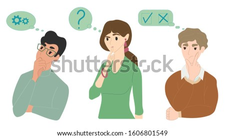 A woman and men think, solve problems, wonder, reflect. Concept: difficult choice, brainstorming, complexity of execution, to draw conclusions, think logically. Vector illustration, eps 10. Stock foto ©
