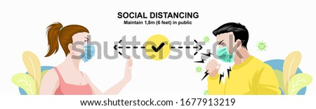 A woman avoids coughing man, Social distancing infographic, Stay safe by keeping a distance from people in public areas. Wuhan China Novel Coronavirus 2019-nCoV outbreak banner or poster design vector