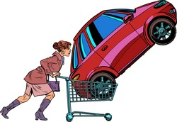 A woman bought a car. Pop art retro vector illustration kitsch vintage 50s 60s style