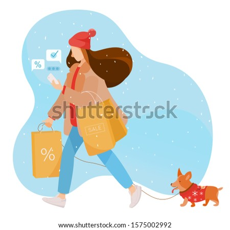 A woman buys Christmas presents and discount items. Dressed in winter clothes. Holds craft packages with purchases and a phone which messages. Walking the dog. Boxing Day. Stock vector illustration.