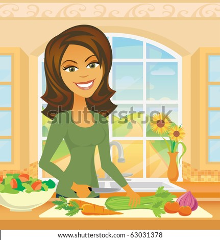 A woman chops  vegetables in a kitchen preparing a healthy meal.