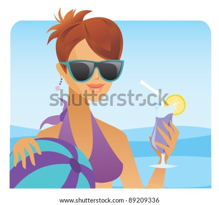 A woman enjoys a cocktail in the pool.