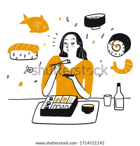 A woman happily eating sushi. Hand drawn Vector Illustration in sketch doodle style. Stok fotoğraf ©