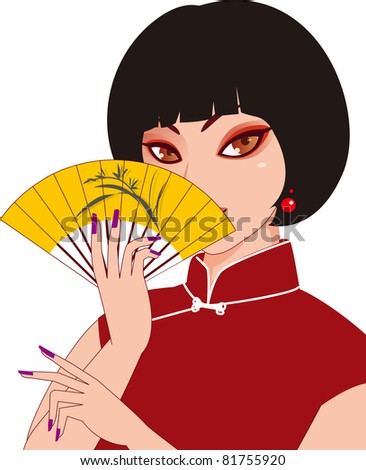 a woman holding a folding fan