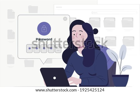 A woman holds a laptop. Data protection website concept. Online security concept. Laptop protected with shield and lock, personal password enter, gears, and key.  Foto stock ©