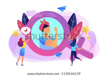 A woman image in female gender sign showing biceps as a concept of feminism, girl power, movement, female equality, equal social and civil rights. Violet palette. Vector illustration on background.